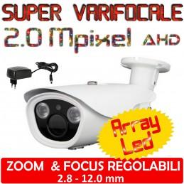 Telecamera Varifocale 2.8 - 12.0 mm visione notturna Array Led
