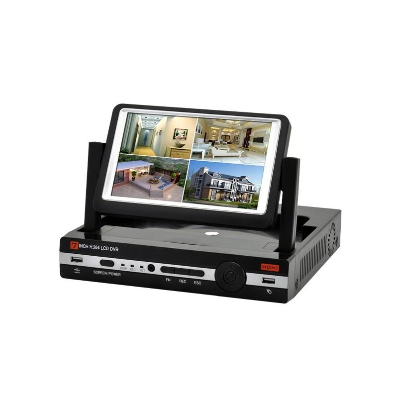 """DVR Videosorveglianza Filare 4 Canali Monitor 7"""" uscita HDMI"""